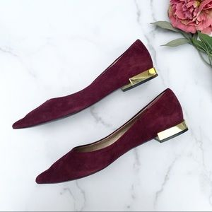 TAHARI | Pointed Toe Suede Leather Flats